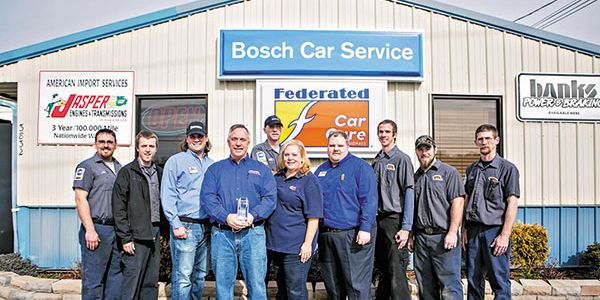 The American & Import Auto Repair pro shop team. From left to right: Greg Lawson, Stevie Hinkle,...