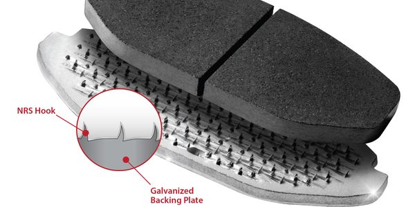Brake pads without a mechanical retention system have an increased risk of the friction material...