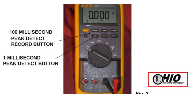 Figure 1: A DVOM's Peak Detect mode will capture and record a 100 millisecond signal drop-out.