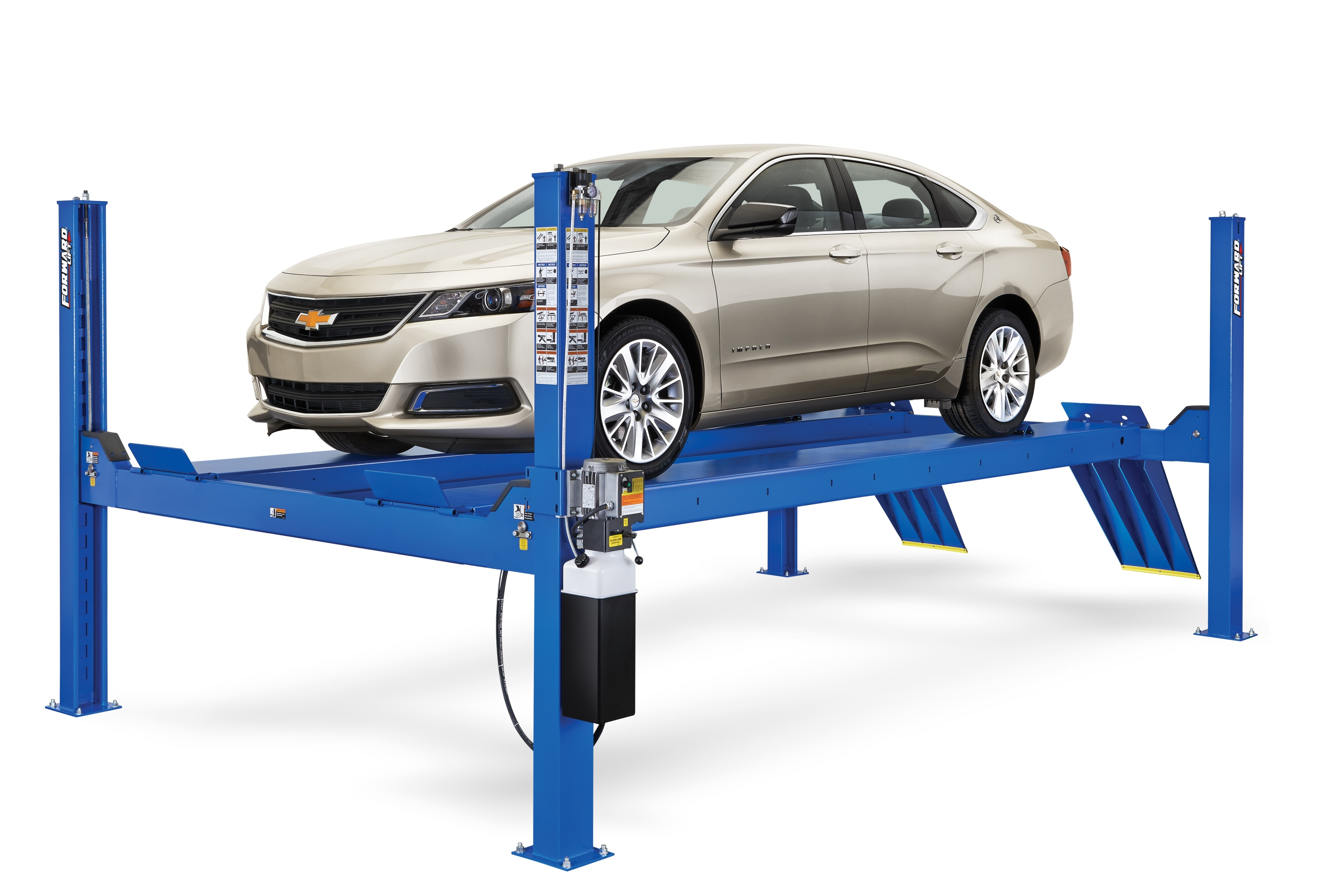 Redesigned Forward Lift CR14 four-post lift has higher rise and more durability