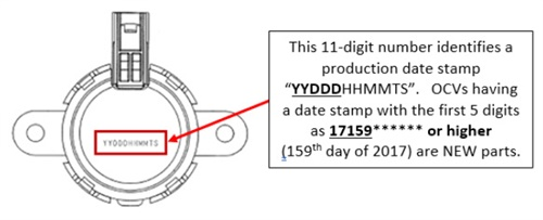 Note the production stamp on the existing OCV. OCVs having a date stamp with the first 5 digits as 17159****** or higher are new parts.