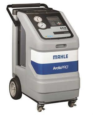 An example of a recovery/recharging machine designed for R134a is Mahle's ActicPro ACX1180. Features include a vacuum leak test that monitors level after evacuation and informs you of a possible leak, automatic air purge that eliminates contaminated air without monitoring gauges or opening valves, shock-mounted load cells that ensure stable calibration and charge accuracy and automatic oil drain, with a display that reminds you to empty the graduated container and shows the amount of oil to replace. Photo courtesy of Mahle Service Solutions