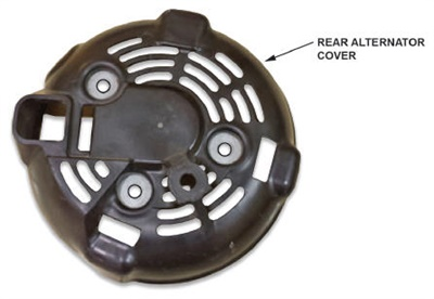 The rear alternator cover is secured with three screws.
