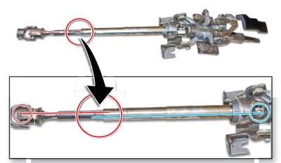 Locate the center lines of the upper and lower U-joints. Measure the shaft offset by counting the number of splines between the two center lines. Line up the lower ZU-joint to match the offset.