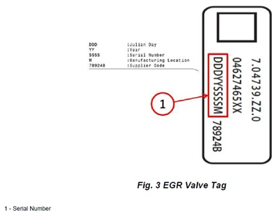Example of the EGR tag. Note the location of the serial number (1).