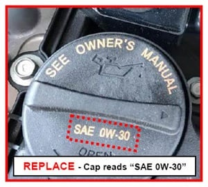 Incorrect oil cap reads SAE 0W-30.