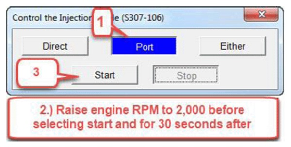 "When switching the direct injection active test to port injection active test, raise engine rpmM to 2,000 rpm prior to pressing ""Start"" and for 30 seconds after. Perform the same when switching from port to direct injection test."