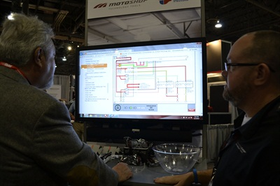 Advance Auto Parts demonstrated the capabilities of its new MotoLogic diagnostic tool at AAPEX. In the photo above, a wiring diagram for a Mazda vehicle aids in troubleshooting.