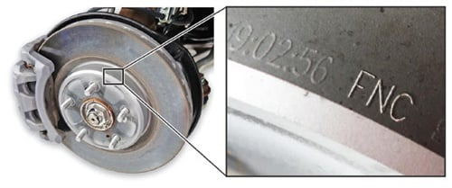 FNC brake discs are marked as such. FNC treated discs are not to be resurfaced.