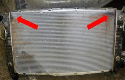 Check for radiator leaks where tubes connect to the header tanks.