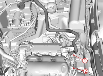 Inspect the PCV foul air tube connection on the rear of the intake manifold vacuum port.