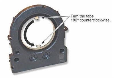 To fix this, you need to remove the sensor from the cable reel and turn the two tabs 180-degrees counter clockwise to bring the sensor back to center (0-degrees).