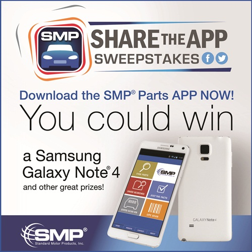 SMP is celebrating the release of the SMP Parts App with a sweepstakes.