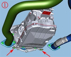 Inspect for loose catalytic converter mounting nuts.