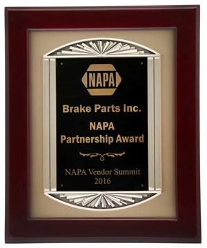 Brake Parts Inc won NAPA's Partnership Award during the NAPA Vendor Summit.