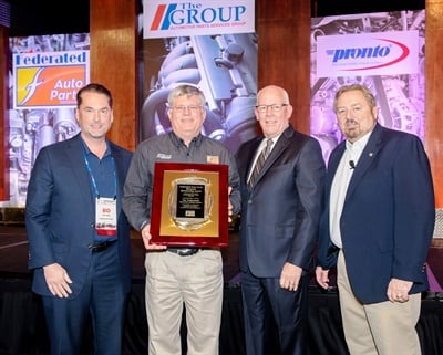 The Art Fisher Memorial Award was presented to Tim Trudnowski during the recent Automotive Parts Services Group (The Group) meeting.