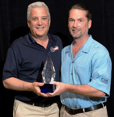 Steven Berman (left), executive chairman of Dorman Products, has been inducted into the Federated Vendor Hall of Fame. He is pictured with Bo Fisher, chariman of Federated Auto Parts.
