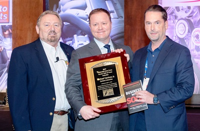 (Left to right): Rusty Bishop, CEO, Federated Auto Parts; Michael Cardone III, executive chairman, Cardone Industries; and Bo Fisher, chairman, Federated Auto Parts.