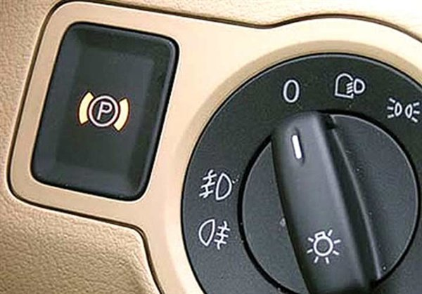 The Volkswagen Passat switch is located on the left side of the dash next to the headlight switch. With only a pair of wires linking the driver to the brakes, the switch can be located wherever the design engineers wish.