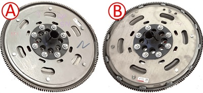 LT1 flex plate (A) and LT4 flex plate (B). Note that the LT4 flex plate features a welded ring gear.