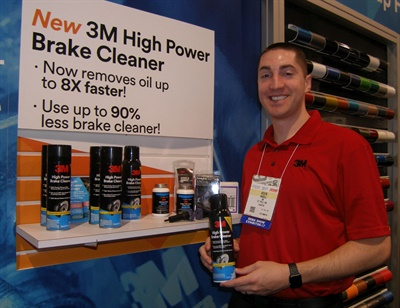 Kevin Ansell says a new formula enables 3M brake cleaner to remove oil up to eight times faster than the prior product.