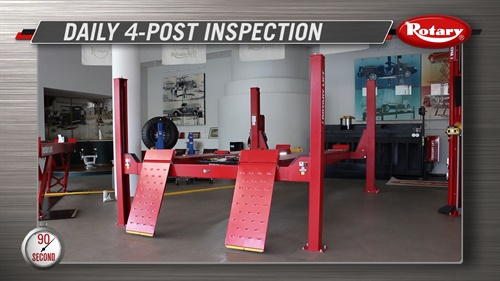 """Rotary Lift highlights a recommended eight-step daily four-post lift inspection process in a new """"90 Second Know How"""" video."""