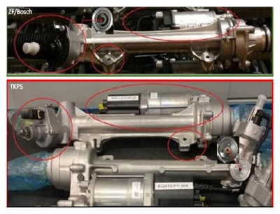 The upper photo shows the ZF/Bosch steering gear. The lower image shows the TKPS unit.