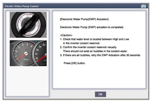 Check that coolant level is located between High and Low in the inverter coolant reservoir. There should be no air bubbles. If bubbles are found, re-try the EWP actuator after 30 seconds.