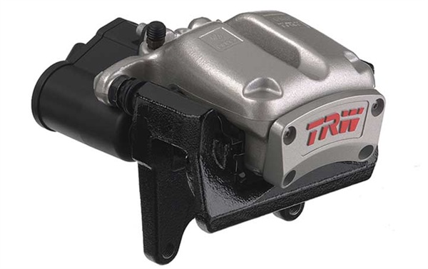 """This electronic parking brake caliper from TRW not only includes the electric motor, but also the control module. Setups like this could eventually lead to a true """"emergency"""" brake that could be applied without input from the driver."""