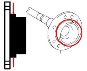 Use a quality caliper to measure rear axle flange diameter.