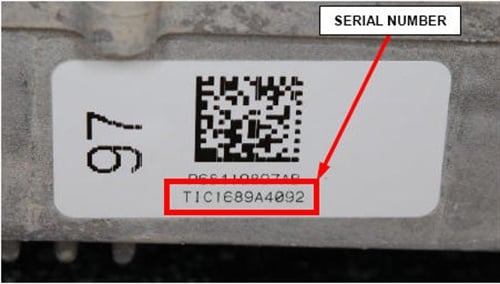 Record the serial number on the EPS gear and compare to the list of suspected faulty units.