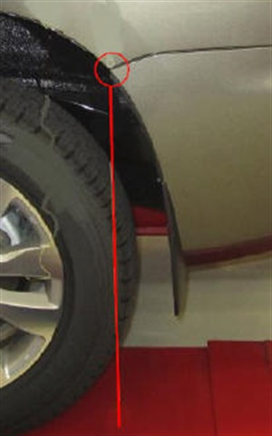 The rear measuring point is where the body meets the bumper.