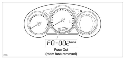 The odometer will display F0-002 if the room fuse has been removed.