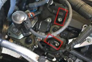 Close-up of cam sensor locations.