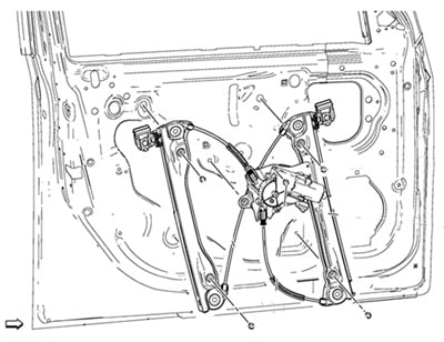 Example of the driver door window regulator/motor.