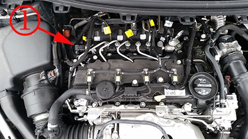Location of the intake manifold runner control valve actuator.
