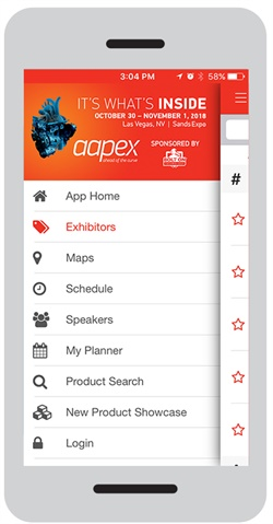 The AAPEX 2018 app helps attendees stay up-to-date with the show and industry news by providing access to social media discussions and AAPEX TV 360 videos.
