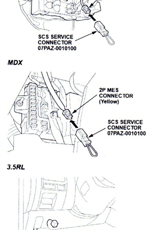 Locations of the 2P MES connector on three sample vehicles (3.2CL/3.2TL; MDX; and 3.5RL).