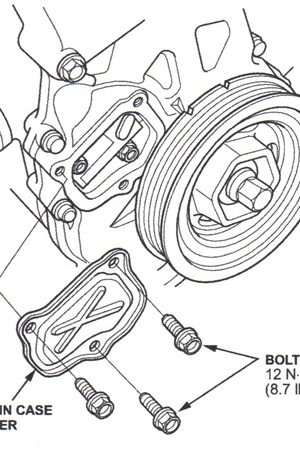 Once the lock pin has been removed from the auto-tensioner, rotate the  crankshaft clockwise two full turns, then stop at the white TDC mark.  Verify that the cam sprockets are aligned.