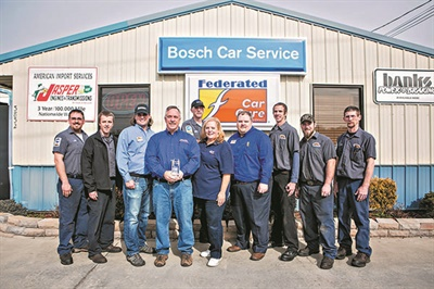 The American & Import Auto Repair pro shop team. From left to right: Greg Lawson, Stevie Hinkle, Blaine Turner, Tim Smith, Jake Vance, Kim Smith, Scott Hyatt, Chad Townsen, Patrick Jones and Derek Bush.
