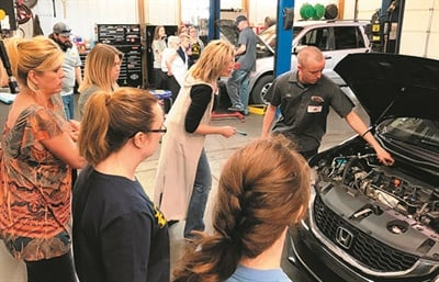 Ladies Car Care clinic events are held annually (or even twice per year, depending on demand), providing automotive education and maintenance tips to an audience of 15 to 20 women.