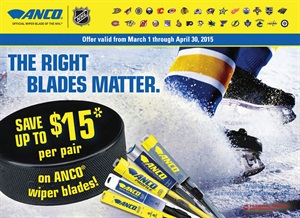 Customers who purchase Anco brand wiper blades are eligible for up to a $15 rebate through April 30, 2015.