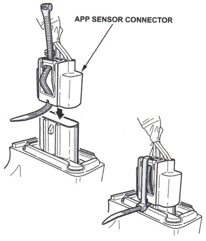 If the APP sensor connector is not properly secure, thread a wire tie  onto the wire-side of the connector. This will press the locking tab,  allowing the tab to take a set over time.