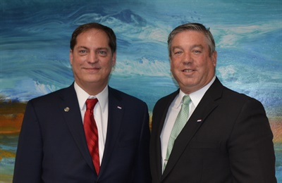 Donny Seyfer, AMAM, left, stands next to Roy Schnepper, AAM, ASA's new chairman of the board. Seyfer has stepped down as immediate past chairman of ASA to serve as a training consultant for ASA. Photo provided by the Automotive Service Association.