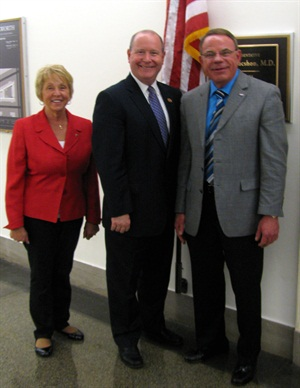 """Vernon and Barb Menke of Menke's Automotive Repair, Newburgh, Ind., were among several ASA leaders who participated in ASA's Washington, D.C. """"fly-in"""" May 29. Pictured left to right: Barb Menke, Rep. Larry Bucshon (Ind.-8), and Vernon Menke."""