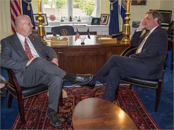 "Bill Moss, AAM (left), owner of EuroService Automotive, Warrenton, Va., meets with Rep. Robert Hurt (Va.-5) during the ASA ""fly-in"" May 29 in Washington, D.C. Photo credit: Howard Pitkow"