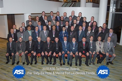 The National Institute for Automotive Service Excellence (ASE) honored 52 technicians for achieving the highest scores on the ASE Certification tests at its 2018 annual meeting.