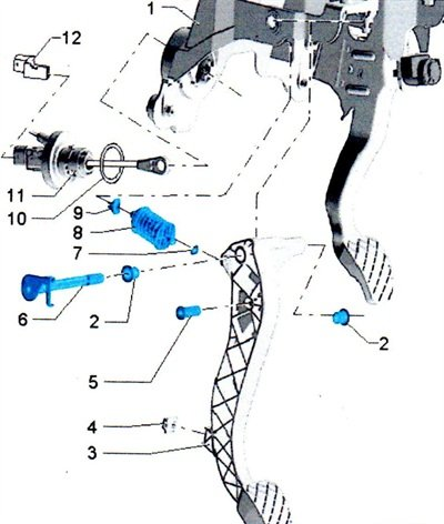 Note the mounting pin (No. 5 in illustration).