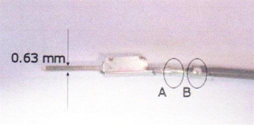 Figure 1.  The male pin must be 0.63mm in width. The pin and terminal  must be crimped onto the wire at (A) and crimped again onto the wire  sheathing at (B).