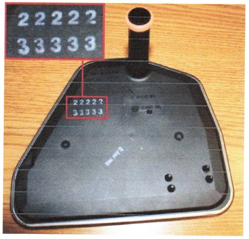 Figure 2. The replacement filter should display two rows of numbers as shown.
